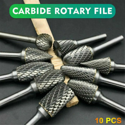 £9.99 • Buy 10Pcs Rotary Burr Bit Tungsten Carbide Point Die Grinder Shank Carving Set Tools