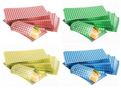 £6.49 • Buy GINGHAM Duplex Grease Proof Paper Sheets 250x375mm Food Burger Wraps ALL COLOURS