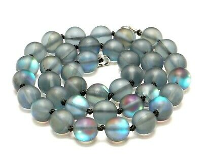 $26.99 • Buy GRAY-BLUE-GREEN  OPALESCENT MATTE LASS MOONGLOW BEADED 10mm NECKLACE KNOTTED18