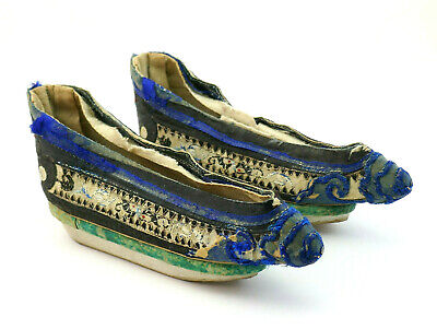 £13.27 • Buy Antique Chinese Qing Period Pair Hand Embroidered Silk Lotus Shoes Bound Feet