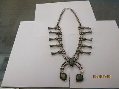 $ CDN210.72 • Buy Handmade Squash Blossom Necklace Sterling Silver Turquoise Unsigned