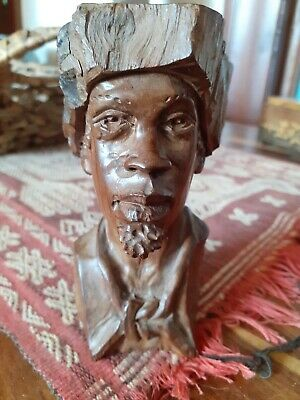 £20 • Buy Signed Carved Wooden African Head ABRAHAM R CHIKUMBIRIKE