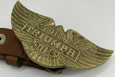 £12.99 • Buy Vintage Brass Triumph Motorcycle Belt Buckle With Leather Belt
