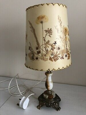 £30 • Buy Vintage Onyx And Brass Table Lamp With Decorative Lampshade
