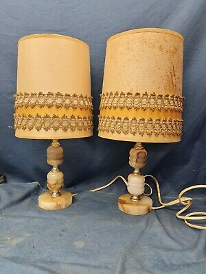 £4.99 • Buy Pair Of Mid Century Onyx Table Lamps For Restoration