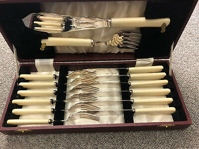 £20 • Buy 1950' Set Of Fish Cutlery. 6 Knives 6 Forks & Large Fish Fork & Carving Boxed