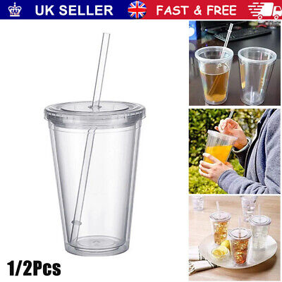 £8.36 • Buy Double Walled Cup Plastic Clear With Lid And Straw 500ml Drinks Insulated Home