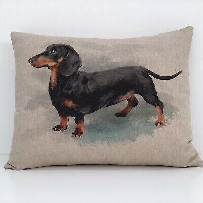 £9.90 • Buy Dachshund Cushion Cover Sausage Dog Picture Print Natural Linen Look Fabric 16