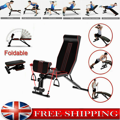 £89.99 • Buy Foldable Adjustable Barbell Bench Weight Lifting Flat Incline Exercise Gym Home