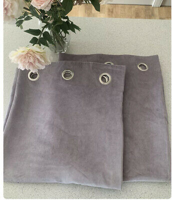 £49.99 • Buy NEXT MAUVE SOFT VELOUR LINED EYELET CURTAINS 168 X 229cm BRAND NEW