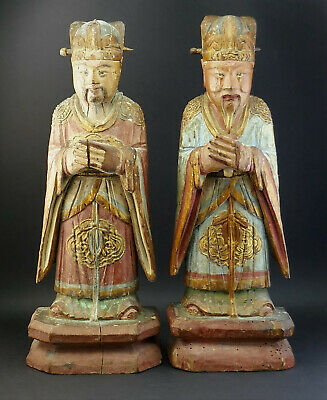£650 • Buy Pair Antique Chinese Carved Wood Polychrome Painted Standing Officials Figures