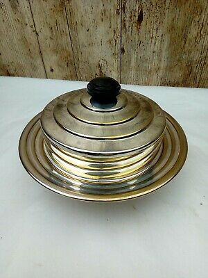 £9 • Buy Vintage MANCO Small Muffin Dome Butter Dish Silver Plated