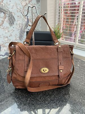 £9.50 • Buy FOSSIL RICH TAN LEATHER BAG Great Condition