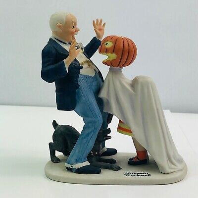 $ CDN27.35 • Buy Norman Rockwell  Trick Or Treat  Porcelain Figurine With Ghost And Pumpkin 1980