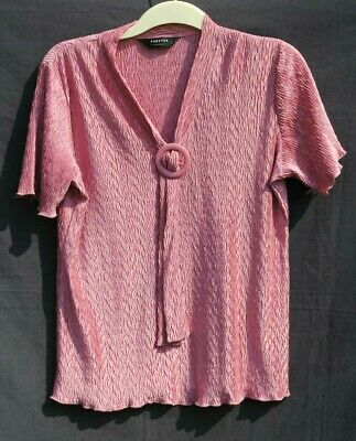 £2.95 • Buy Ladies' Forever By Michael Gold Size L Pretty Dusky Pink Short Sleeve Blouse.