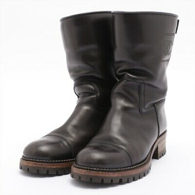 £323.55 • Buy Chanel COCO Mark Leather Boots 38.5 Ladies Black