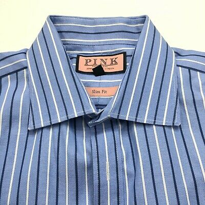 £18.69 • Buy Thomas Pink Slim Fit Mens 17/43 French Cuff Button Front Long Sleeve Dress Shirt
