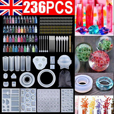 £9.89 • Buy 236PCS Epoxy Resin Transparent Crystal Clear Mould Kit Casting Craft Silicone