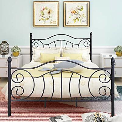 $ CDN291.95 • Buy JURMERRY Sturdy Metal Bed Frame With Vintage Headboard And (Queen|Black)