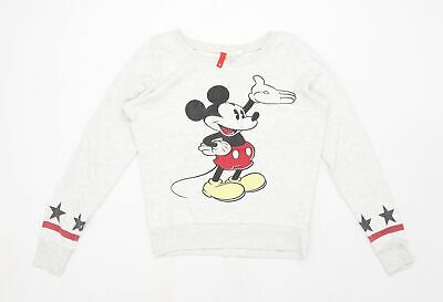 £8 • Buy Divided By H&M Womens Grey   Pullover Sweatshirt Size 8  - Disney Mickey Mouse S
