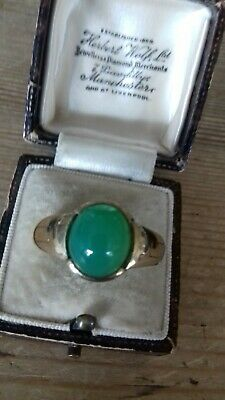 £195 • Buy Large Vintage 9ct Gold & Jade Solid Ring (Men's/Woman's)