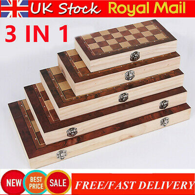 £10.99 • Buy 3 In 1 Large Folding Wooden Chess Set Board Game Checkers Backgammon Games Gifts