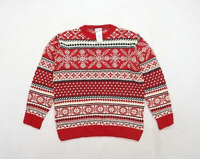 £17 • Buy Laura Ashley Mens Red Geometric Knit Pullover Jumper Size S  - Christmas