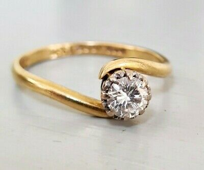 £350 • Buy Vintage 1960's 18ct Yellow Gold Solitaire Diamond Twist Engagement Ring 0.50 Ct.