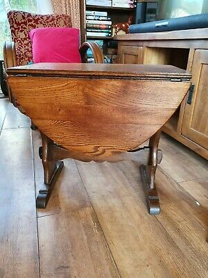 £85 • Buy Vintage Solid Oak Small Oval Drop Leaf Swing Top Occasional Side Coffe Table