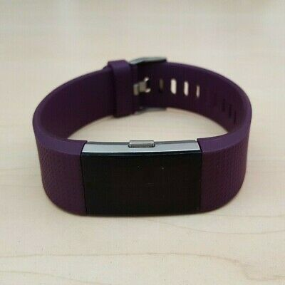AU39.50 • Buy Fitbit Charge 2 Silver Heart Rate Fitness Activity Tracker Purple Band - Small