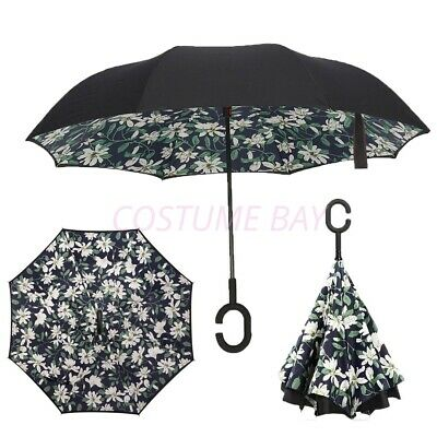 AU24.95 • Buy Windproof Upside Down Reverse Umbrella C-handle Double Layer Inside-out Inverted