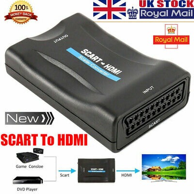 £6.89 • Buy SCART To HDMI Adapter 1080P HD Video Audio Upscale Converter USB Cable TV DVD UK