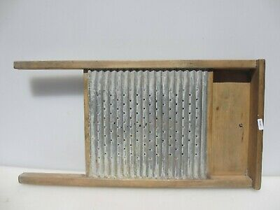 £35 • Buy Vintage Wooden Washboard Galvanised Steel Wood Antique Clothes Washer Old Queen
