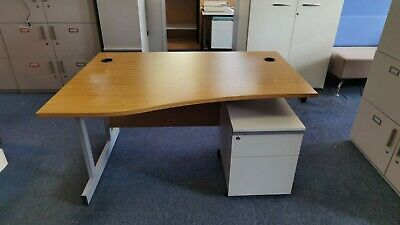 £45 • Buy 140cm Office Home Wave Oak Desk Table With Ped/Drawers Left & Right Available
