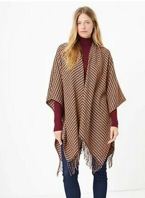 £16.50 • Buy M&S Ladies GLITTERY  Houndstooth Knit Burgundy Cape Wrap RRP £35 BNWT