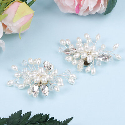 £3.16 • Buy 1 Pair Rhinestone Pearl Shoe Clips Wedding Party Shoes Charm Decoration H S!