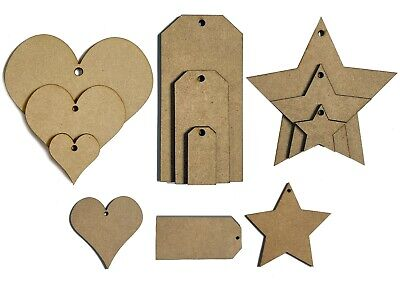 £3.50 • Buy MDF 3mm Hearts Stars Luggage Tags With Holes Wooden Crafts Shapes Cut Outs