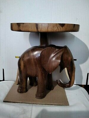 £100 • Buy VINTAGE HAND CARVED AFRICAN WOODEN ELEPHANT PLANT STAND 9  HIGH 1.8kg