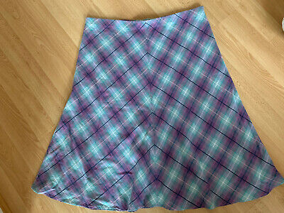 """£1.50 • Buy Ladies Turq/Purple Checked Pull On Skirt, Marks & Spencer, Size 22, Length 30"""""""
