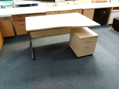 £40 • Buy 140cm White Effect Office Home Wave Desk Table With Ped Unit Right Handed