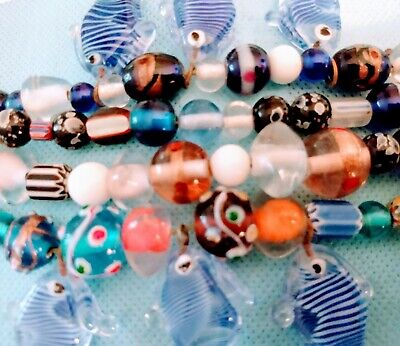 £6.19 • Buy New Lot 4 Strands Of Mixed Lampwork Glass And GLASS, Milk Glass Beads.Glass Fish