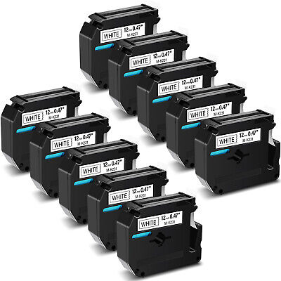 $20.85 • Buy 10PK Black On White Label Tape For Brother M-K231 MK231 M231 P-touch 1/2IN