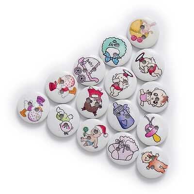 $0.52 • Buy 50pcs Baby Theme Printing Wood Buttons For Sewing Scrapbook Handwork Decor 15mm