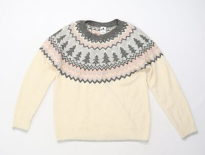 £5 • Buy George Mens Beige Geometric Knit Pullover Jumper Size L  - Christmas