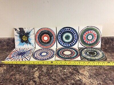 £24.99 • Buy VINTAGE 60s 70s HAND PAINTED TILES BY CRISTAL. X8