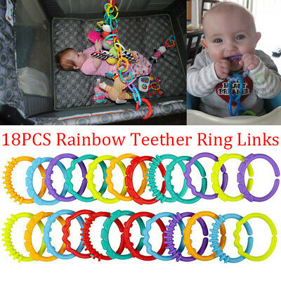 £3.99 • Buy 18xRainbow Teether Ring Links Plastic Baby Kids Infant Stroller Gym Play Mat Toy