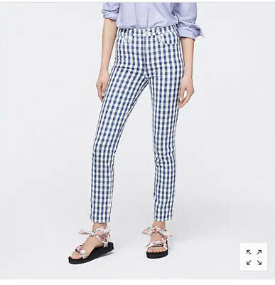 £10.27 • Buy J. Crew 10 Inch Vintage Straight Jeans Gingham Blue White Print NWT 28