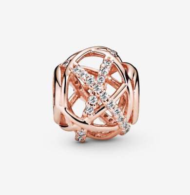 £4.20 • Buy New Authentic Pandora Rose Gold 781388CZ Gold Galaxy Openwork Crystal Charm