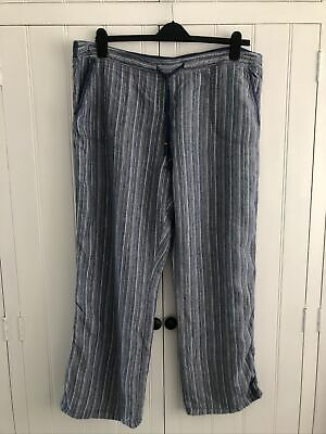 £2.50 • Buy M&S Blue White And Silver Striped Linen Beach Trousers Size 20