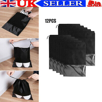 £9.89 • Buy 12x Portable Shoes Bag Travel Storage Pouch Drawstring Dust Bags Clear Non-woven